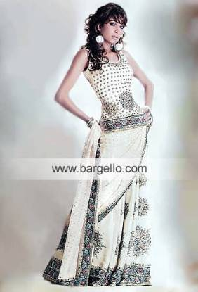 Oyster White Bridal Lehenga with Mughlai ornaments made all over Pakistani Bridal Lehenga