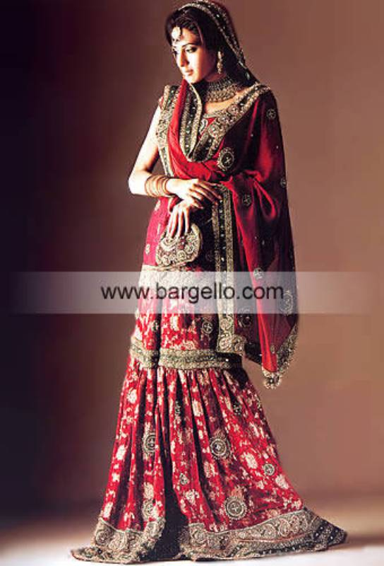 Red Ritzy Gharara, Blouse and Dupatta. Pakistani/Indian Designer Dresses