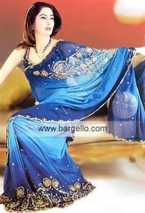 Sea Blue and Solid royal chiffon Saree from Pakistan having handmade embroidery