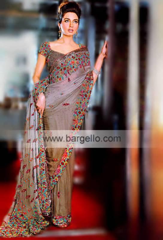 Greek Olive Chiffon Sari Saree Sarees Saris Pakistani Designer Sari
