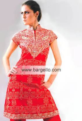 Red Chinese Neckline Shirt and Trouser Suit Asian Designer Dresses London, Manchester, Birmingham