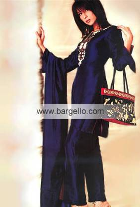 Katan Silk Cobalt Trouser Suit For Day and Casual Wear