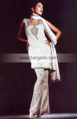White Trouser Suit having Antique Silver Zardosi Embroidery Pakistani Designer Dress