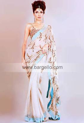 Diamond Pink Hand Made Sari Chiffon Charmeuse Silk Hand Embroidered Work on Pakistani Saris