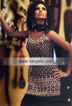 Black Spaghetti Straps Shalwar Kameez Heavily Embellished Made in Pakistan Dresses