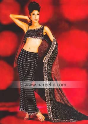 Traditional Pakistani Indian Sari, Pakistani Saree, Black Saree