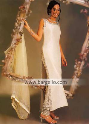 Off white English Bridal Gown having Antique Work