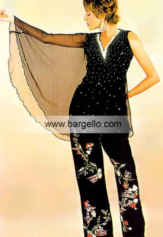 Black Sparkling Asian Trousers Suit Fully Hand Embellished