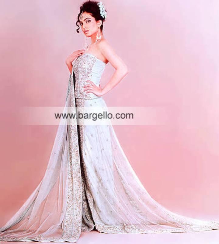 Light Sherbet Bridal Dress Hand Embellished Made in Pakistan