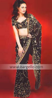 Black Azov Floral Embroidered Sari and Choli Blouse