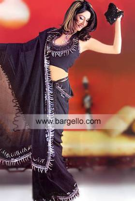 Black High Fashion Sari Choli Pakistani Indian