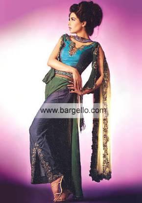 Aqua and Dark Cassis Sharara Pants Sobia Nazir Bridal Dress Formal Party Wear Pakistan