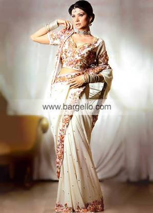 Cream Chiffon Hand Embellished Bridal Sari and Choli