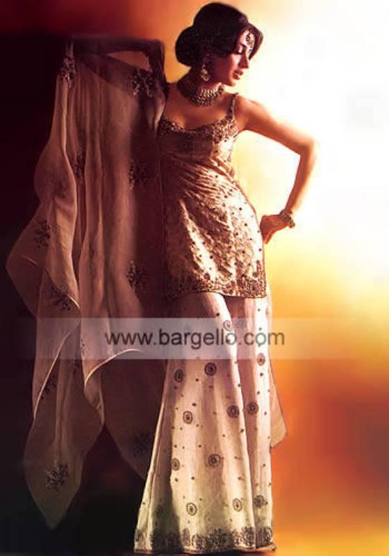 Ivory two legged designer sharara blouse and dupatta