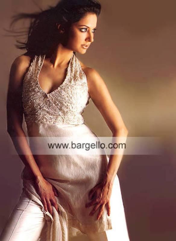 Silver Crinkle Chiffon Hand Embellished Halter Dress