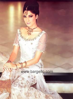 Off-white Broom Gharara Hand Embellished Karachi Designer Dress