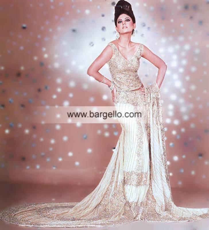 Off-white Bezel Net Jamawar White Bridal Wedding Ceremony Dress
