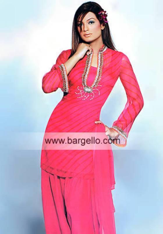 Deep Pink Chiffon Tie n Dye Hand Embellished Dress