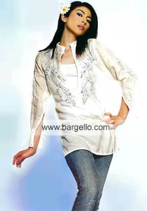 Off white crepe silk embroidered summer holidays top