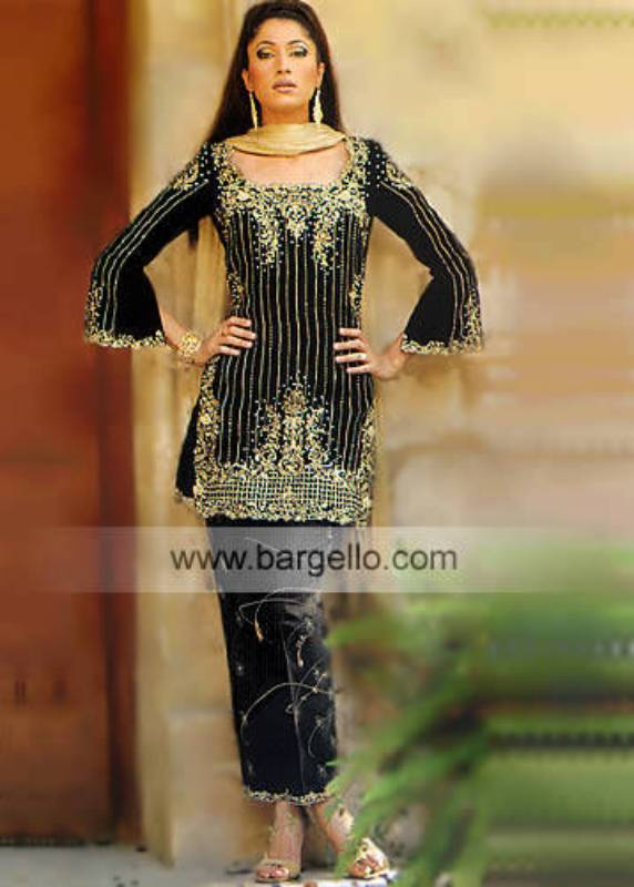Black Pakistani Designer Evening Wear Embroidered Dress