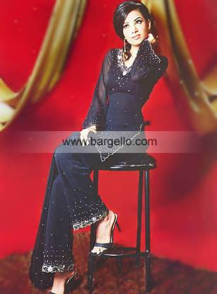 Sapphire Chiffon Party Wear Flared Embroidered Pants and Shirt