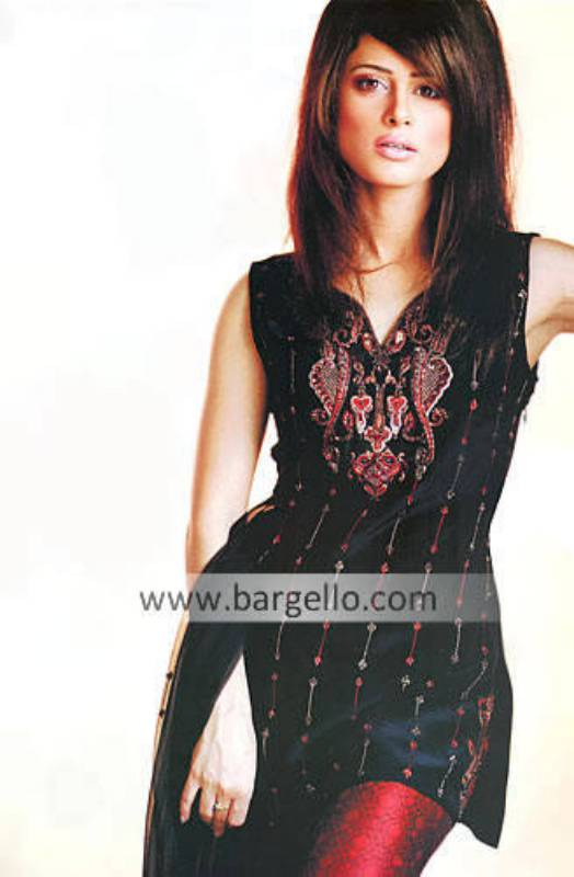 Black Chiffon Beaded Bargello Designer Shalwar Kameez