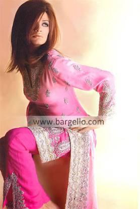 Pink Silk Salwar Kameez, Pakistani Formal Party Wear
