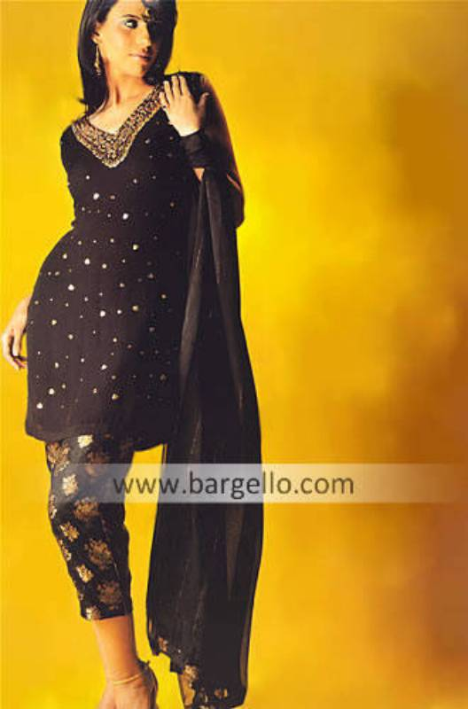 Black Chiffon and Banarsi Jamawar Hand Embellished Dress