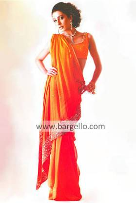Orange Hand Embellished Sari and Blouse Crinkle Chiffon