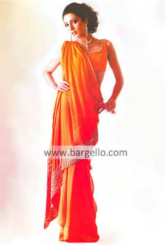 Orange Hand Embellished Sari and Blouse Crinkle Chiffon