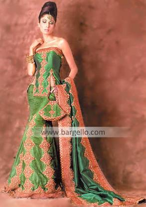 Lime Green Armena Bridal Lehenga, Dupatta and Top
