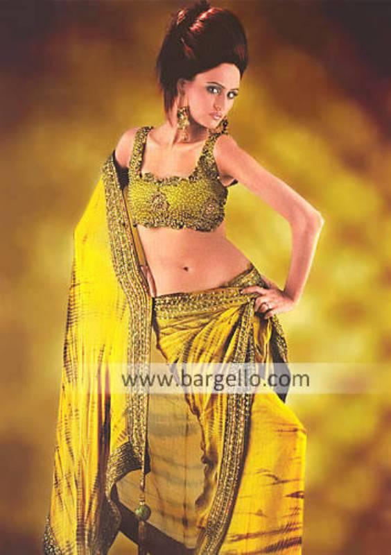 Sage Crepe Silk Sari with Charmeuse Silk Embellished Top