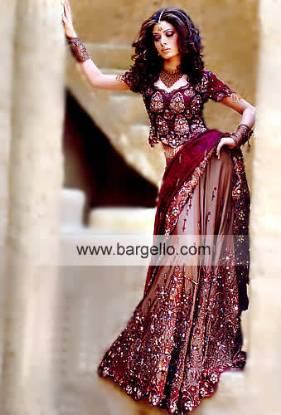 Pakistani Designer Lengha, Heavily Embellished Lehenga Skirt