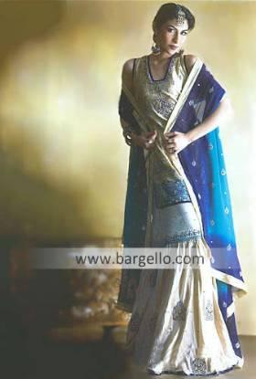 Cream Heavily Embellished Bridal Gharara has Zardosi Work