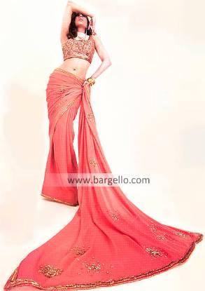 Pakistani Designer Sari, Heavily Embellished Bridal