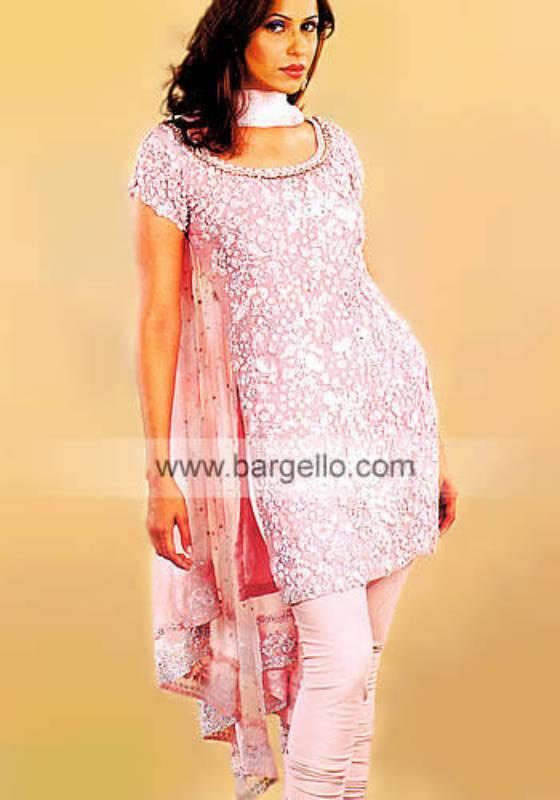 Light Pink Crepe Silk Floral Embellished Shalwar Kameez Dress