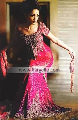 Deep Pink Bridal Hand Embellished Mermaid Skirt, Top and Veil