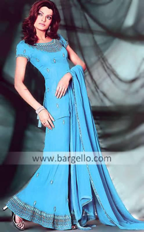 Dodger Blue A-line hand embellished Skirt, Top and Veil