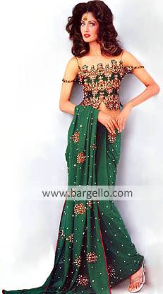 Pakistani Bridal Sari, Heavy Zardosi Blouse, Designer