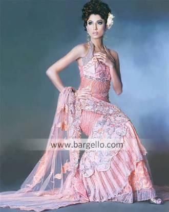 Tea Pink Ornamento Mermaid Skirt, Top and Veil Dress
