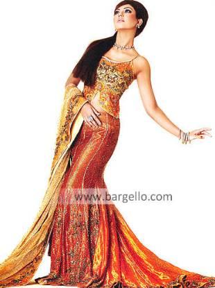 Orange Heavily Embellished Bridal Lehenga Lenga Langa