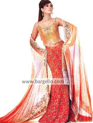Red Orange Heavily Embellished Bridal Lehenga Lenga