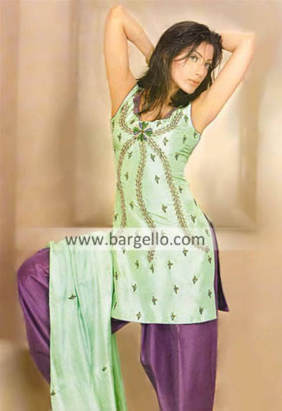 Green Silk Hand Emroidered Shalwar Kameez