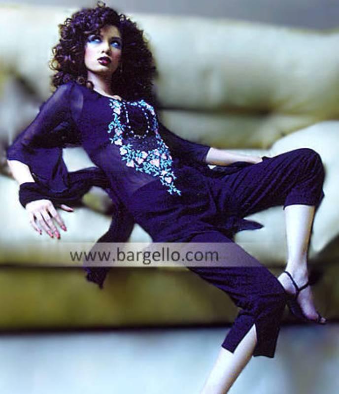 Pakistani Party Clothing, Pure Chiffon Shalwar Kameez