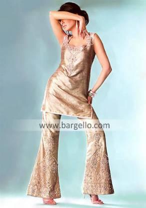 Silk Shalwar Kameez, Pakistani Designer Trouser Suit