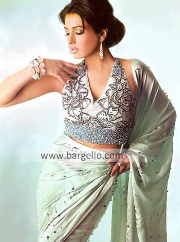 Pakistani Designer Sari, Formal Sari, Embroidered