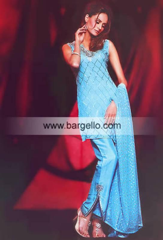 Dodger Blue Sequins Dress along with embellished veil