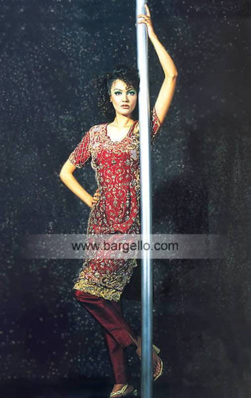 Maroon Embroidered Pakistani Designer Shalwar Kameez