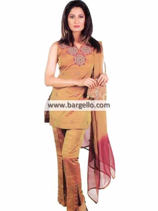 Raw Silk Hand Embellished Shalwar Kameez Pakistan