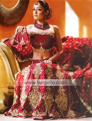 Maroon Hand Embellished Bridal Lehenga, Bustier and Veil